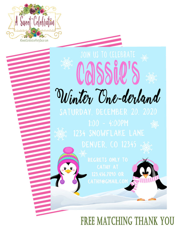 CUTE PENGUINS WINTER ONEDERLAND PINK - PRINTABLE BIRTHDAY INVITATIONS - FREE MATCHING THANK YOU