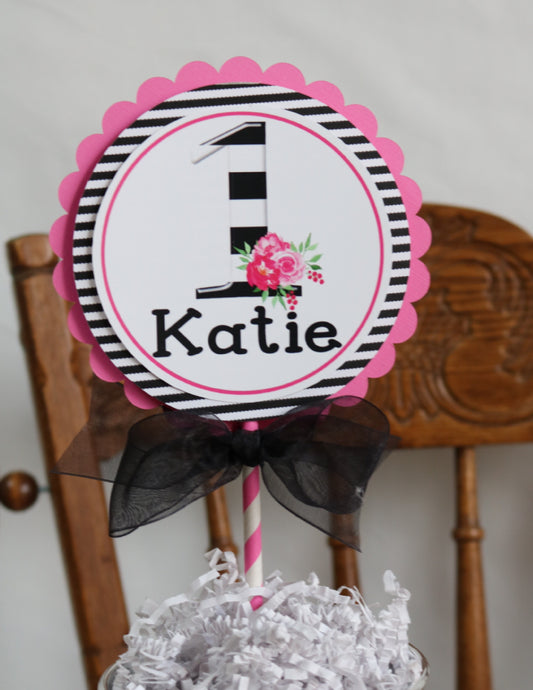 KATE FLORAL BLACK AND PINK - CAKE TOPPER