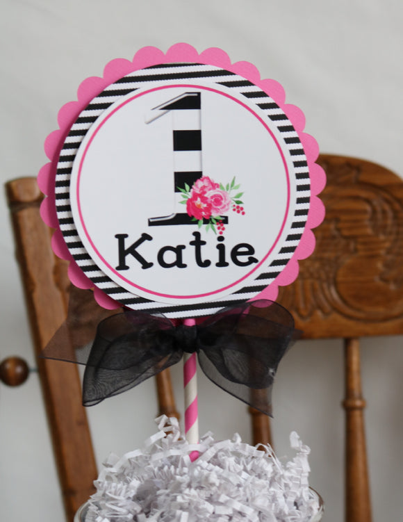 KATE FLORAL - BLACK AND PINK - CAKE TOPPER