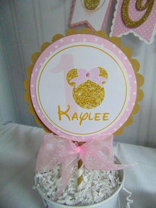 MINNIE MOUSE PINK & GOLD CAKE TOPPER