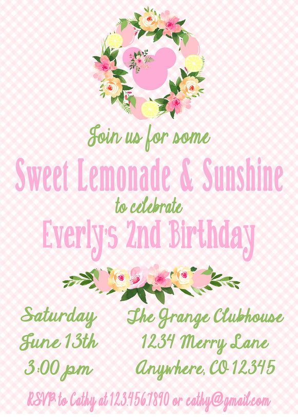 MINNIE MOUSE FLORAL LEMONADE - BIRTHDAY PRINTABLE INVITATION - FREE MATCHING THANK YOU