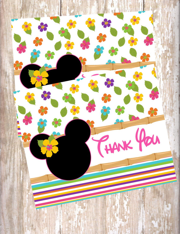 MINNIE MOUSE LUAU - PRINTABLE THANK YOU'S