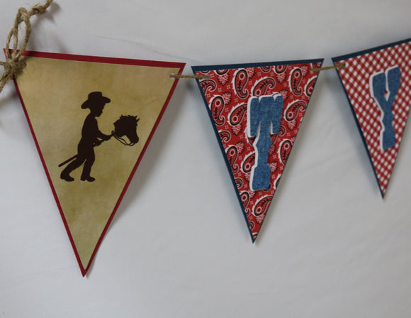 COWBOY - HAPPY BIRTHDAY NAME BANNER