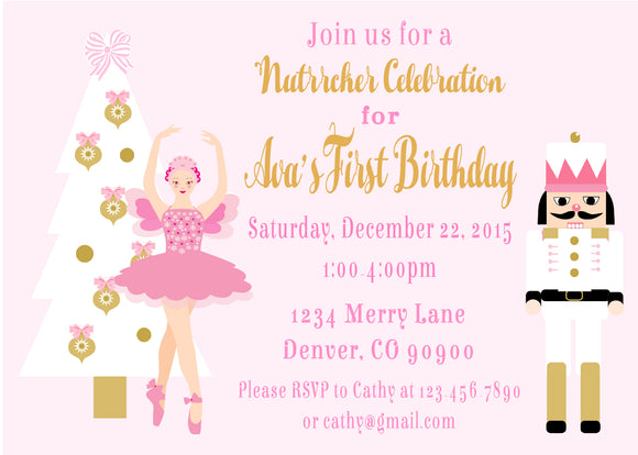 NUTCRACKER BALLET PASTEL PINK- BIRTHDAY - PRINTABLE INVITATION - CHRISTMAS BIRTHDAY - FREE MATCHING THANK YOU