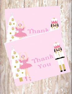 NUTCRACKER BALLET PASTEL PINK - PRINTABLE THANK YOU'S