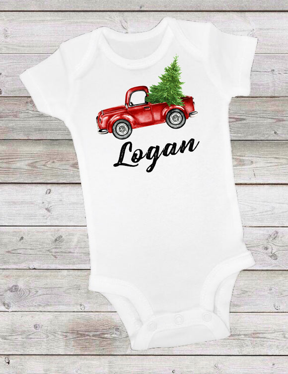 LITTLE RED TRUCK WITH CHRISTMAS TREE -  ONESIE OR T-SHIRT - 1st BIRTHDAY
