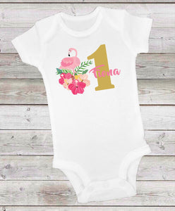 FLAMINGO PINK AND GOLD -  ONESIE OR T-SHIRT