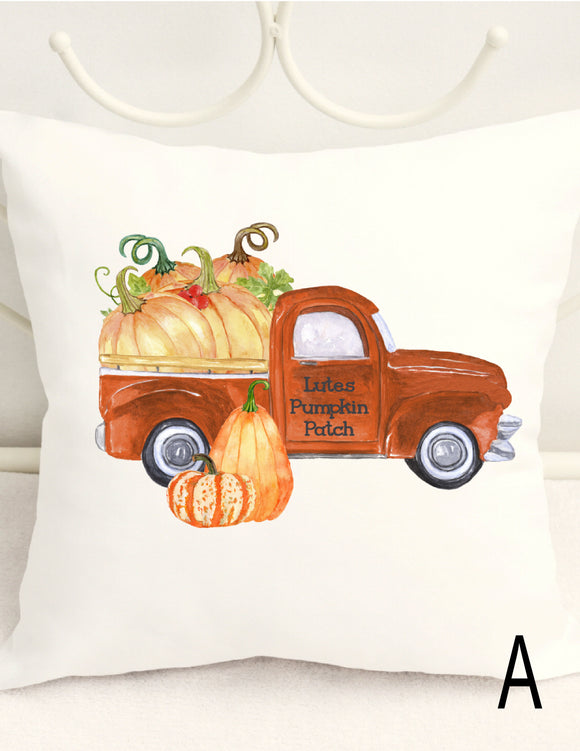 FALL PILLOW COVER - PERSONALIZED PUMPKIN PATCH WITH VINTAGE PICK UP