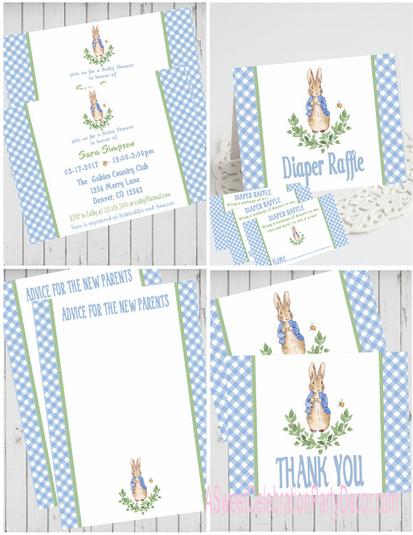 PETER RABBIT LAUREL BLUE - BABY SHOWER  PARTY PACKAGE -  PRINTABLE PARTY PACKAGE - JPG/PDF - DIY