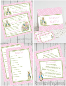 PETER RABBIT PINK - BABY SHOWER  PARTY PACKAGE -  PRINTABLE PARTY PACKAGE - JPG/PDF - DIY