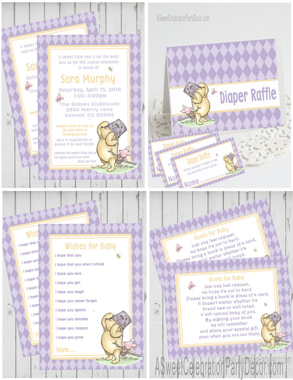 WINNIE THE POOH AND PIGLET LAVENDER - BABY SHOWER  PARTY PACKAGE -  PRINTABLE PARTY PACKAGE - JPG/PDF - DIY