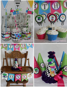 ALICE IN WONDERLAND - PRINTABLE BIRTHDAY PARTY PACKAGE - TEA PARTY - ONEDERLAND