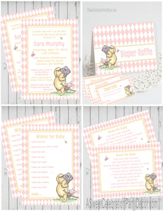 WINNIE THE POOH AND PIGLET PINK - BABY SHOWER  PARTY PACKAGE -  PRINTABLE PARTY PACKAGE - JPG/PDF - DIY