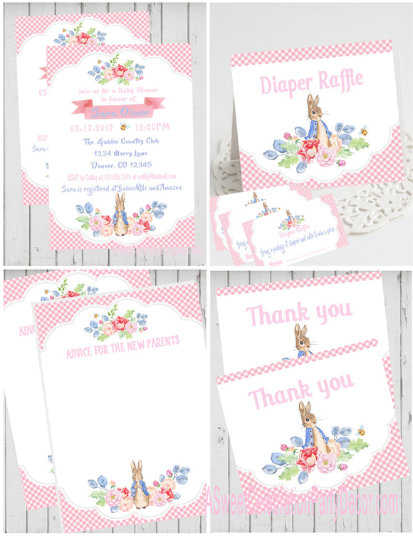 PETER RABBIT FLORAL - BABY SHOWER  PARTY PACKAGE -  PRINTABLE PARTY PACKAGE - JPG/PDF - DIY