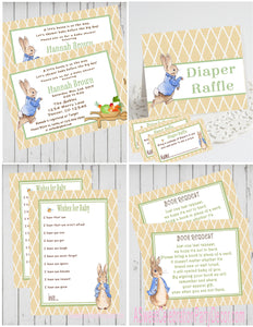 PETER RABBIT LINEN - BABY SHOWER  PARTY PACKAGE -  PRINTABLE PARTY PACKAGE - JPG/PDF - DIY