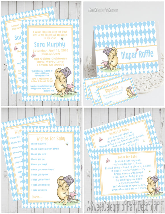 WINNIE THE POOH AND PIGLET BLUE - BABY SHOWER  PARTY PACKAGE -  PRINTABLE PARTY PACKAGE - JPG/PDF - DIY