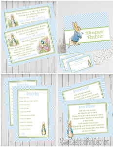 PETER RABBIT BLUE - BABY SHOWER  PARTY PACKAGE -  PRINTABLE PARTY PACKAGE - JPG/PDF - DIY