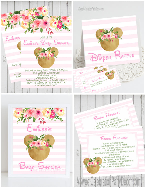 MINNIE MOUSE FLORAL WOODLAND - BABY SHOWER  PARTY PACKAGE -  PRINTABLE PARTY PACKAGE STORK BABY SHOWER - JPG/PDF - DIY