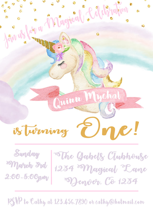 UNICORN - PASTEL RAINBOW - PRINTABLE BIRTHDAY INVITATION - FREE MATCHING THANK YOU