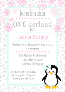 PENGUIN WINTER ONEDERLAND - PRINTABLE BIRTHDAY INVITATIONS - FREE MATCHING THANK YOU