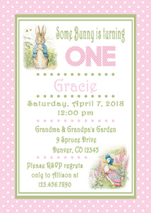 PETER RABBIT PINK - BIRTHDAY PRINTABLE INVITATION - FREE MATCHING THANK YOU