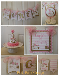 PUMPKIN PINK AND GOLD  - PETITE - 1ST BIRTHDAY PARTY PACKAGE
