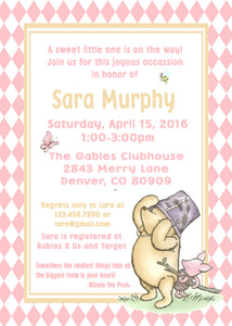 WINNIE THE POOH AND PIGLET PINK - BABY SHOWER PRINTABLE INVITATION - FREE MATCHING THANK YOU - JPG/PDF