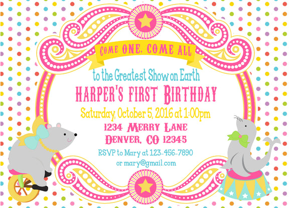 CIRCUS - BIRTHDAY - PRINTABLE INVITATION