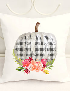 FALL PILLOW COVER - PLAID FLORAL PUMPKIN