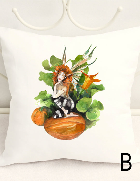 FALL PILLOW COVER - PUMPKIN PATCH GARDEN FAIRY