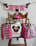 MINNIE MOUSE BLACK FLORAL - 4 pc - SMASH CAKE BIRTHDAY PARTY PACKAGE