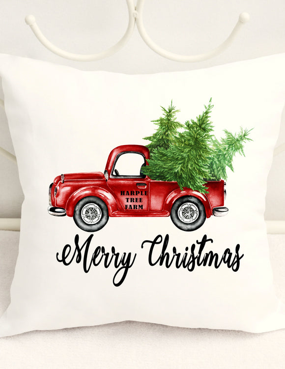 CHRISTMAS PILLOW COVER - VINTAGE PICK UP CHRISTMAS TREES PERSONALIZED WITH ANY NAME