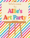 "ART PARTY - PRINTABLE  8"" X 10"" WELCOME SIGN"