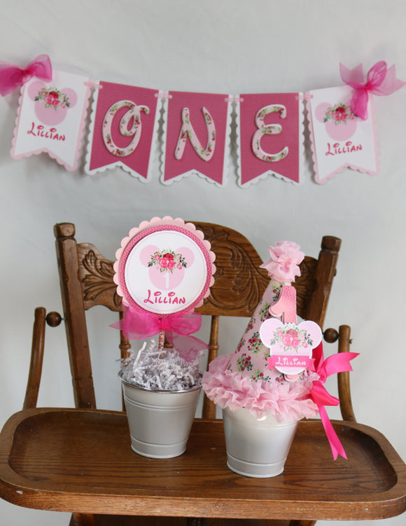 MINNIE MOUSE PINK FLORAL - 3 pc - SMASH CAKE BIRTHDAY PARTY PACKAGE