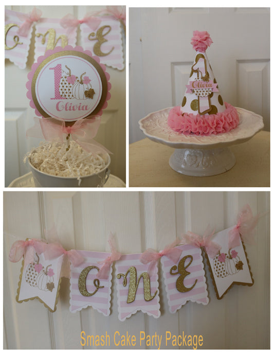 PUMPKIN PINK AND GOLD SMASH CAKE PARTY PACKAGE