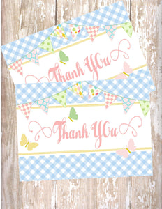 BUTTERFLY KISSES - PRINTABLE THANK YOU'S