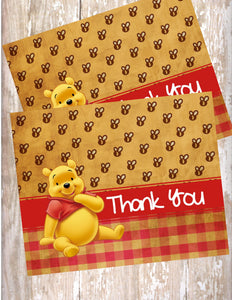 WINNIE THE POOH VINTAGE - BIRTHDAY - PRINTABLE THANK YOU'S