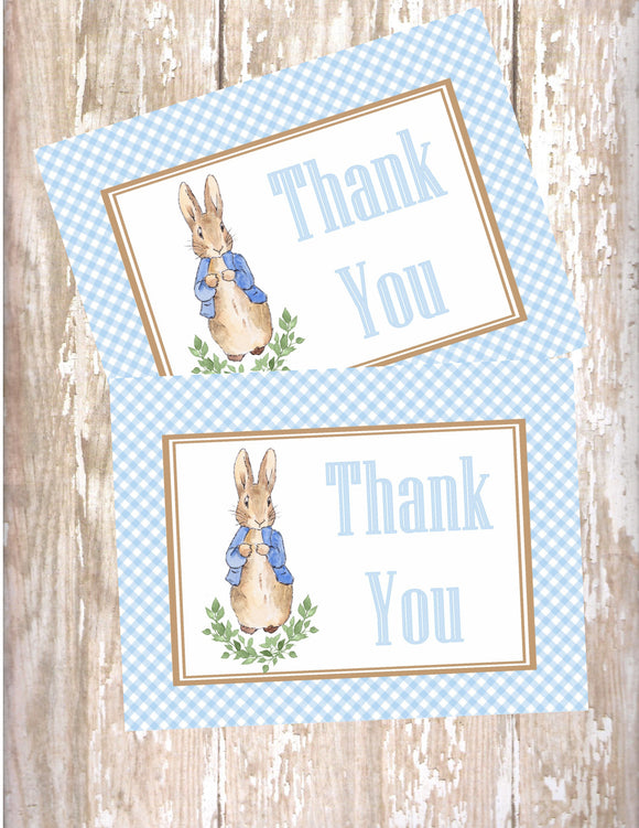 PETER RABBIT WATERCOLOR BLUE - PRINTABLE THANK YOU CARDS
