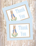 PETER RABBIT WATERCOLOR BLUE - BIRTHDAY INVITATION - JPG/PDF ONLY - FREE MATCHING THANK YOU