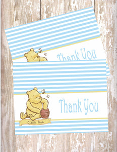 WINNIE THE POOH CLASSIC BLUE - PRINTABLE THANK YOU'S
