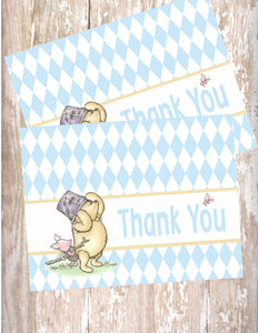 WINNIE THE POOH AND PIGLET BLUE - PRINTABLE THANK YOU'S