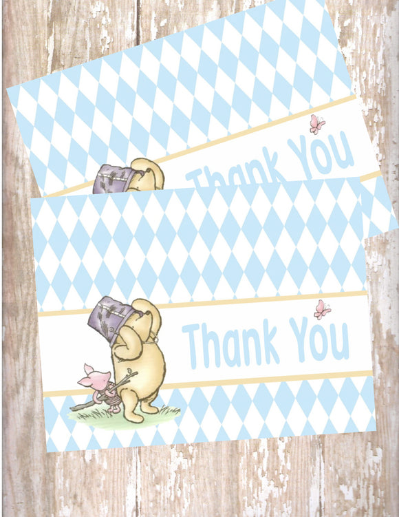 WINNIE THE POOH AND PIGLET BLUE - THANK YOU'S
