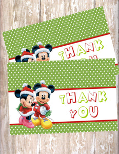 MICKEY & MINNIE MOUSE CHRISTMAS - PRINTABLE THANK YOU'S