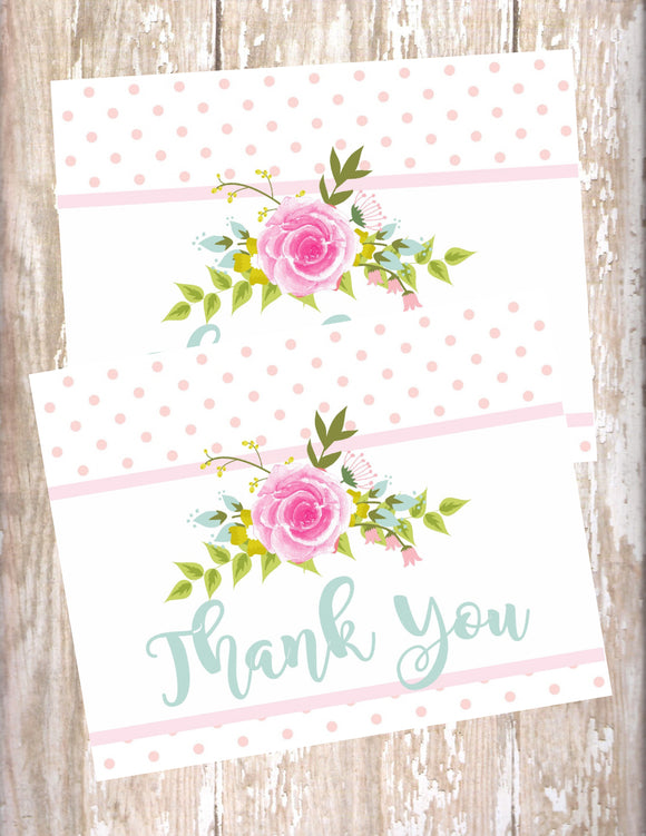 FLORAL SHABBY CHIC - PRINTABLE THANK YOU'S