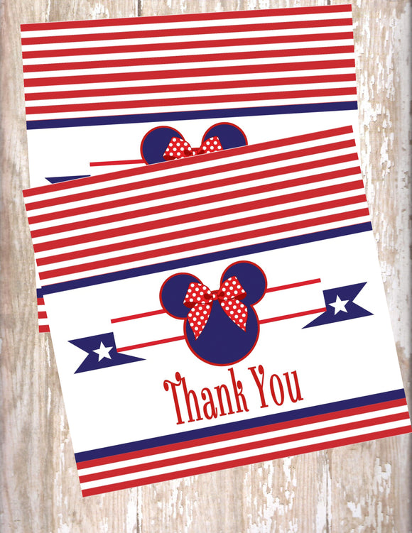 MINNIE MOUSE NAUTICAL - BIRTHDAY THANK YOU'S - JPG/PDF ONLY