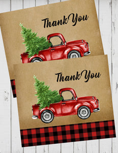 LITTLE RED TRUCK WITH CHRISTMAS TREE -THANK YOU'S  1ST BIRTHDAY