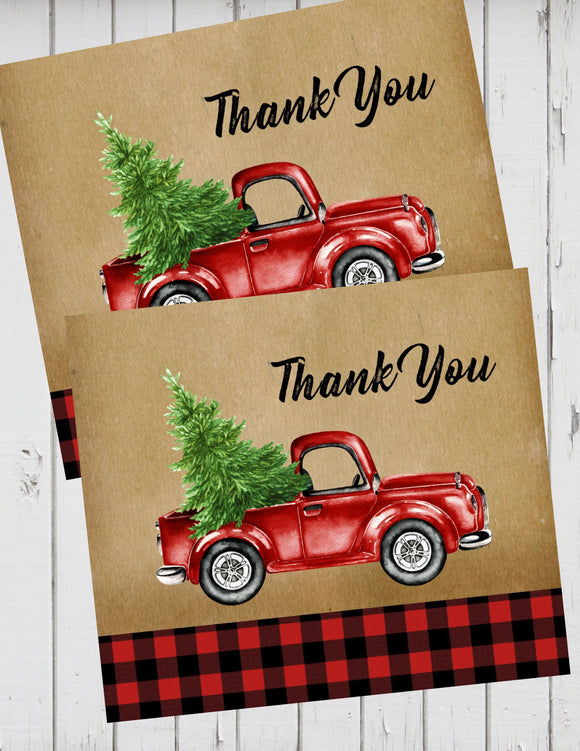 LITTLE RED TRUCK WITH CHRISTMAS TREE - PRINTABLE THANK YOU'S