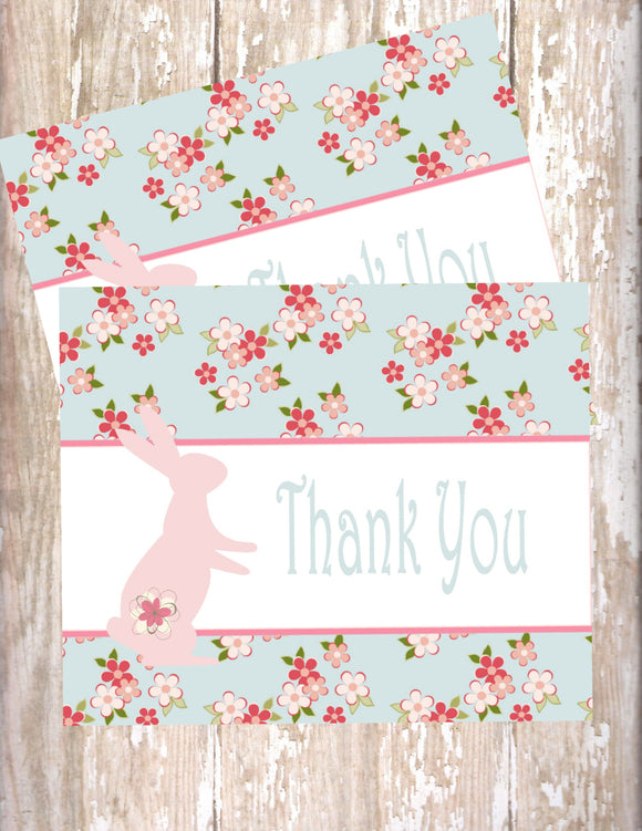 SHABBY CHIC BUNNY - PRINTABLE THANK YOU'S