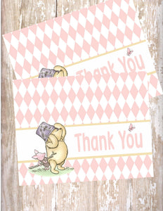 WINNIE THE POOH AND PIGLET PINK - PRINTABLE THANK YOU'S