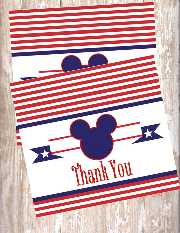 MICKEY MOUSE NAUTICAL - BIRTHDAY PRINTABLE THANK YOU'S